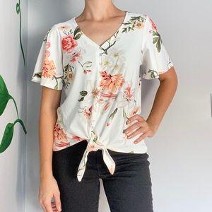 3/20$ Lily Morgan Floral Top Tie Button up